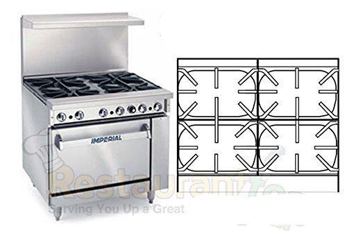 "Imperial Commercial Restaurant Range 36"" With 4 Extra Wide Burners 1 Standard Oven Propane Ir-4-S18"