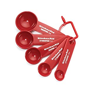 Kitchenaid Cooks Series Measuring Spoons, Red, Set of 5 by Lifetime Brands