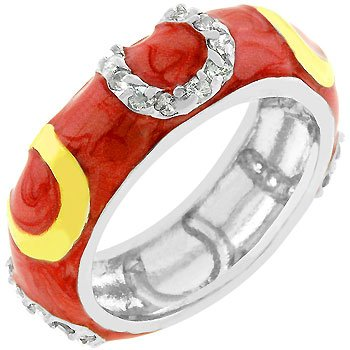 Pink Enamel with 14k Gold Plate and Cubic Zirconia CZ Horseshoe Pattern Silver Tone Costume Ring (Size 5,6,7,8,9,10)