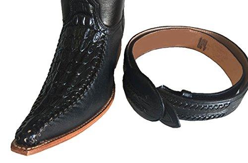 MENS WESTERN COWBOY LEATHER Black/White CROCODILE PRINT BOOTS/ FREE BELT_Black/Black_8.5