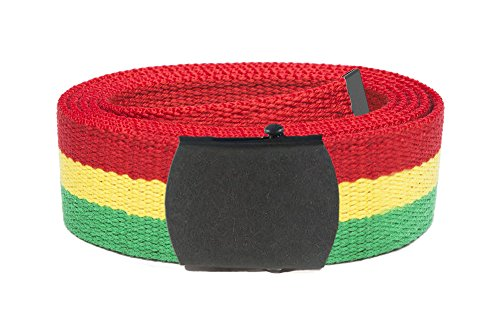 "Cotton Military Web Belt 50"" One Size Rasta stripes - Gunmetal Buckle"
