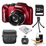 Canon PowerShot SX170 IS 16.0 MP Digital Camera with 16x Optical Zoom and 720p HD Video (Red) Super Bundle With DigPro 32GB High Speed Card , Digpro Deluxe Case, Deluxe Cleaning Kit ,Spare Battery, Tripod
