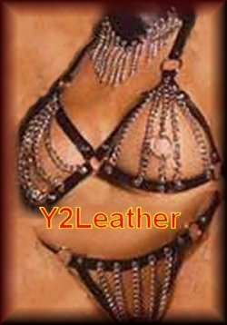2 Piece Chain Bra with Leather trim and matching G-String, shown with item EML9389 in One Size or Queen Plus Size