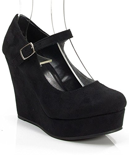 Soda Romie-S Faux Suede Closed Almond Toe Mary Jane Platform Wedge BLACK (7.5) (Platform Shoes Soda compare prices)