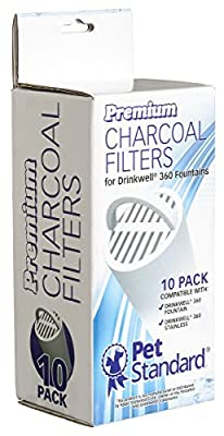 Premium Charcoal Filters for PetSafe Drinkwell 360 Fountains, Pack of 10