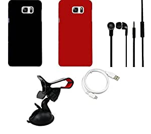 NIROSHA Cover Case Headphone USB Cable Mobile Holder for Samsung Galaxy Note 5 - Combo