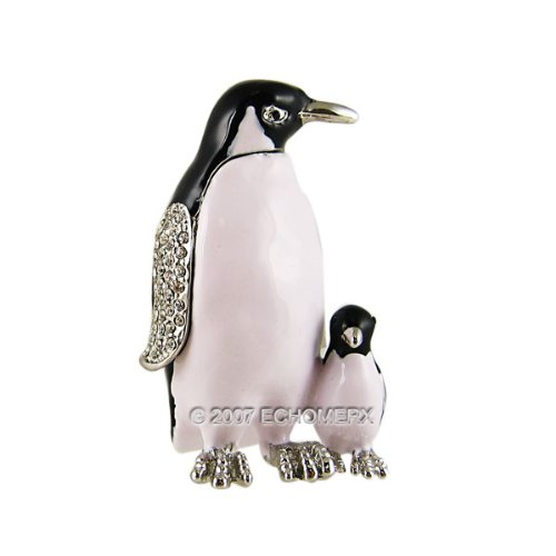 Penguin With Baby Jewelry Trinket Box Bejeweled