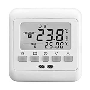 THERMOSTAT ENCASTRE GRAND AFFICHEUR LCD AVEC RETRO-ECLAIRAGE BLANC