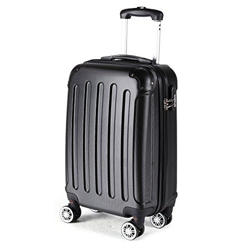 2045-Hartschale-Koffer-Trolley-Reisekoffer-einzelgre-XL-L-M-in-10-Farben-L-Schwarz