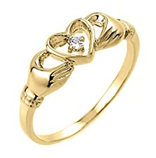 buy High Polish 14K Yellow Gold Diamond Solitaire Claddagh Ring (Size 8.5)