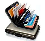 Dark Grey Metal Aluminum Credit Card Case Wallet