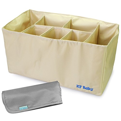 kf-baby-diaper-bag-insert-organizer-152-x-72-x-8-inch-khaki-diaper-changing-pad-value-combo