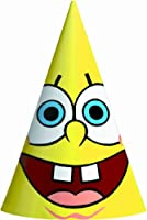 "Amscan SpongeBob 6-1/4"" x 4-1/4"" Classic Party Cone Hats, 8-Count by Amscan"