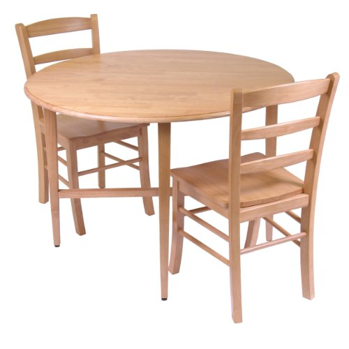 Winsome Wood Hannah Dining Set, Drop Leaf Table with 2 Ladder Back Chairs, 3-Piece