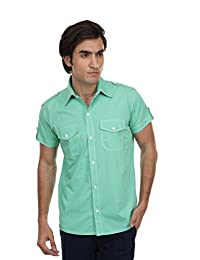 Skatti Pure Cotton Green Shorts Sleeve With Pocket Casual Shirt