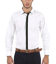 Nick&Jess Mens White-Black Contrasting Slim Fit Dress Shirt(STEAL DEAL-LIMITED OFFER)
