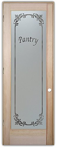Pantry Door - Sans Soucie Etched Glass Interior Door, Doug Fir, Lenora 32 in. x 80 in. Prehung Right Hand Out Swing 4-9/16 in. Matching Jamb. (Interior Glass Slab Door compare prices)