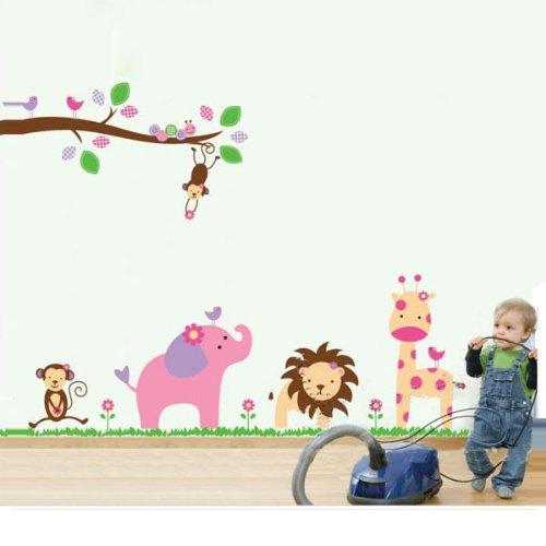 Fuloon adesivo parete, wall sticker, sticker murali per bambini a forma di animali, molto simpatico, removibile, 60*90 cm, di alta qualità, decorazione perfetta a casa, un'opera d'arte consigliatissimo