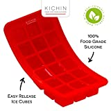 KICHIN 'Easy to Release' Premium Silicone Travel Ice Cube Tray (Set of 2) - Superb for Fruit, Jelly / Jello, Chocolate & Soap Making - 1 Inch Cubes Perfect for Summer Picnics!