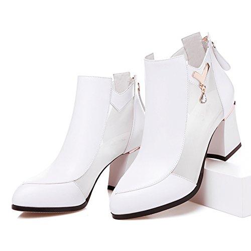scarpe da donna in autunno/ rete europea di cava stivali/In pelle chunky tacchi tacchi alti scarpe ragazze/Gladiatore scarpe-B Lunghezza piede=23.3CM(9.2Inch)