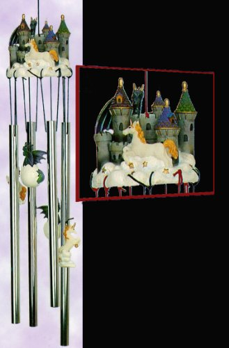 Mystical Castle Unicorn & Dragon with Hatchlings Colorful 4 Note 3d Poly Resin Top Hanging Porch Garden Decoration Decor Wind Chime Indoor/Outdoor 24 inches