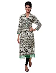 TeeMoods Womens Long Printed Kurti With Long Sleeves