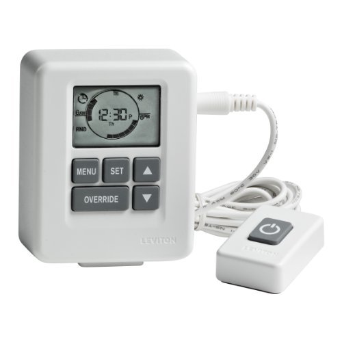 Advanced Digital Plug-In Timer, 6-Foot Tethered Remote, Grounded Plug, Receptacle, Auto Daylight Savings Adjustment, 1000-Watt, White, LT113-10W