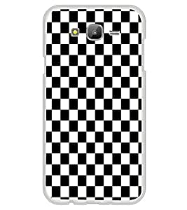 ifasho Squre and Checks In black and white Pattern Back Case Cover for Samsung Galaxy On 7