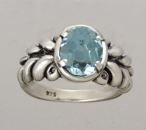 An Eye Catching Sterling Silver Ring Featuring a Beautiful Faceted Blue Topaz Gemstone