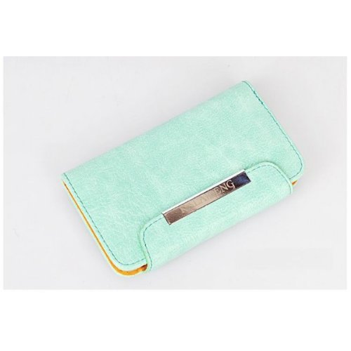 Flip Wallet Book Holster Leather Iphone 5 5S Case - Green