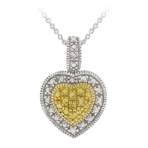 Sterling SilverYellow-Diamond Heart Pendant Necklace