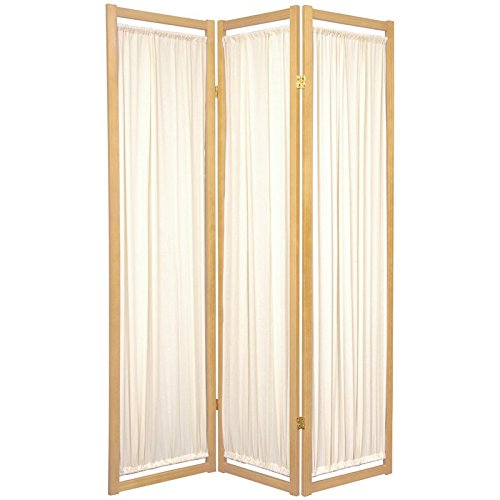 Oriental Furniture Modern Furniture, 6-Feet Helsinki Fabric Japanese Privacy Screen Room Divider, 3 Panel Natural