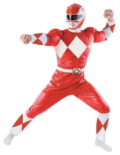Superhero Adult Muscle Padded Red Ranger Classic Costume