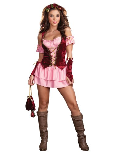 Renaissance Wench Costume Womens Sexy Theatre Costumes Fairie Pink Dress