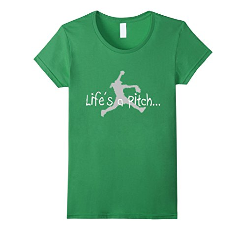 Women's Life's a Pitch T-Shirt Fastpitch Softball Pitcher Funny Top Small Grass (Pitcher Tshirt compare prices)
