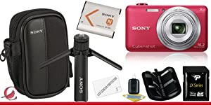 Sony Cyber-shot DSC-WX80 Digital Camera (Red) 32GB Package