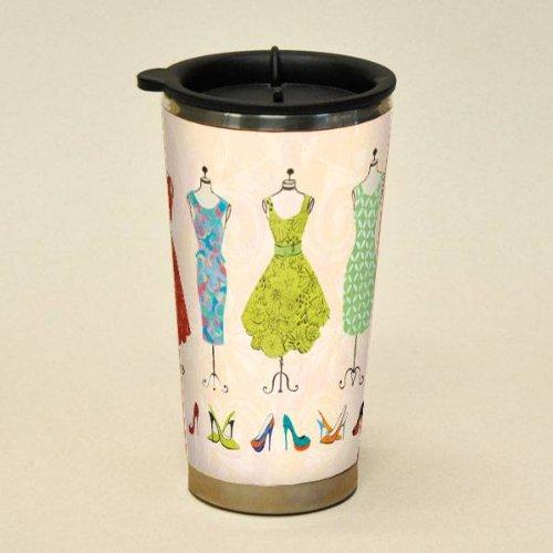Decorative Lang 16Oz. Travel Mug With Lid: Fashion Dresses....Fashion Art By Fabrice De Villeneuve
