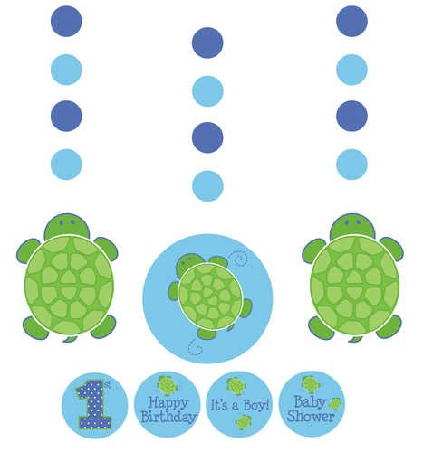 Creative Converting Mr. Turtle Hanging Decorations with Stickers, 3-Piece