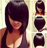 MARIAN Fashion Hairstyle Sythetic Short Straight Bob Wig Jet Black 1b for Women with Side Bangs + a Free Wig Cap W8046