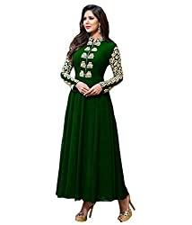 Fashion Fire Women's Green Embroidered Georgette Unstitched Dress Material