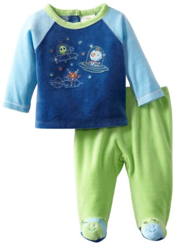 Absorba Baby-Boys Newborn Alien Velour Footed Pant Set, Green/Blue, 3-6 Months front-609794
