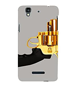 PrintVisa Golden Revolver Gun 3D Hard Polycarbonate Designer Back Case Cover for Yu Yureka Plus YU5510A