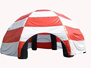 Inflatable Commercial Quality Dome Tent - 33 Foot Diameter - Red and White - Includes Blower Free Shipping