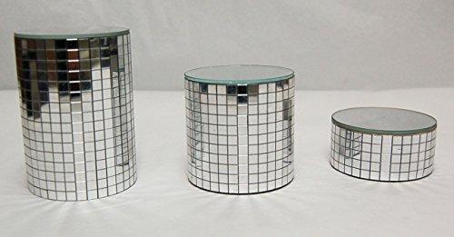 Set of 3 Small Chrome Mirror Pedestals (Mirrored Pedestal compare prices)