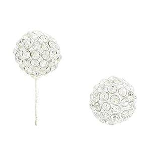 Boucles D'oreilles Clou Style Shamballa Cristal 1cm - Blanc
