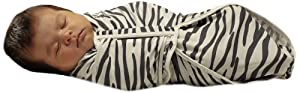 Fisher-Price Swaddlecinch Blanket with Beanie, Large Zebra