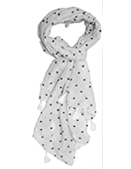 White Base Black Dotted Stole With Fringes For Girls By S.Lover