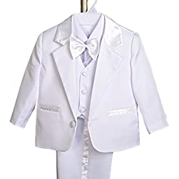 Dressy Daisy Baby Boy\' 5 Pcs Formal Tuxedo Suits Christening Outfits Sz 9m White
