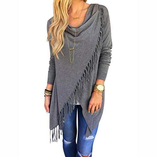 Sunward Fashion Womens Tassel Slash Tops Long Sleeve T-shirt Blouse Sweatshirt (XL, Grey)
