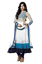 SalwarSaloon Women's White Georgette Long Unstitched Salwar Suit Dress Material (FreeSize_White)